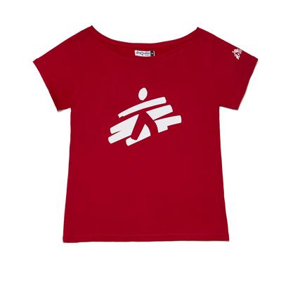 T-shirt donna rossa con omino MSF