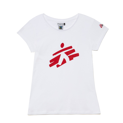 T-shirt donna bianca con omino MSF
