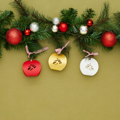 Set 3 palline di Natale di carta