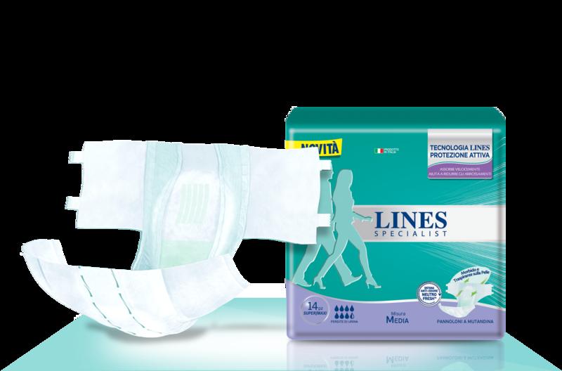 Acquista online Lines Specialist Pannolone a Mutandina Super/MaxiUltra Mini | Linea prodotto Alte per uomo e donna. Lines Specialist, prodotti per perdite di urina Pannolone a Mutandina Super/Maxi - Taglia Media