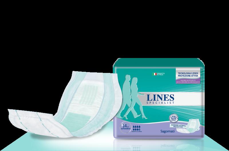 Acquista online Lines Specialist Sagomato Super/MaxiUltra Mini | Linea prodotto Alte per uomo e donna. Lines Specialist, prodotti per perdite di urina Sagomato Super/Maxi