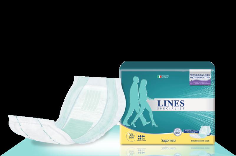 Acquista online Lines Specialist Sagomato Extra Ultra Mini | Linea prodotto Alte per uomo e donna. Lines Specialist, prodotti per perdite di urina Sagomato Extra