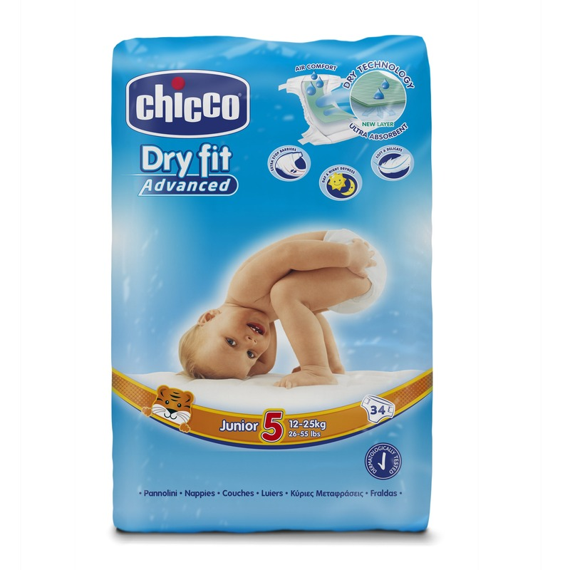 Fraldas Chicco Dry Fit Advanced T5 12-25kg (Pack grande)