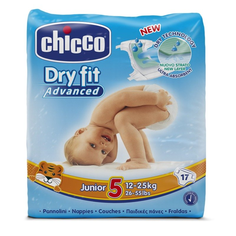 Fraldas Chicco Dry Fit Advanced T5 12-25kg (Pack pequeno)